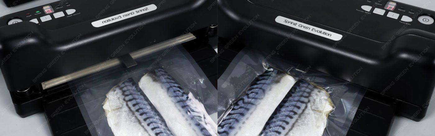 trước và sau khi hút chân không cá với máy VC88
