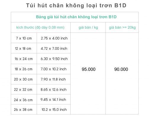 kích thước và giá cả túi hút chân không mặt trơn B1D